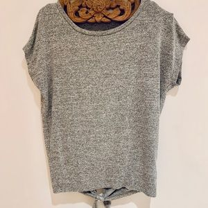 GAP Gray Wide Neck T-Shirt with Knot